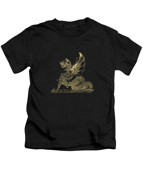 Winged Dragon Chimera From Fontaine Saint-michel, Paris In Gold On Black Kids T-Shirt