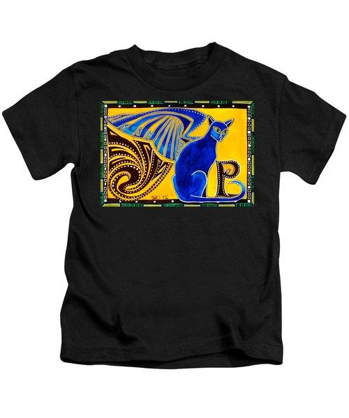Winged Feline - Cat Art With Letter P By Dora Hathazi Mendes Kids T-Shirt