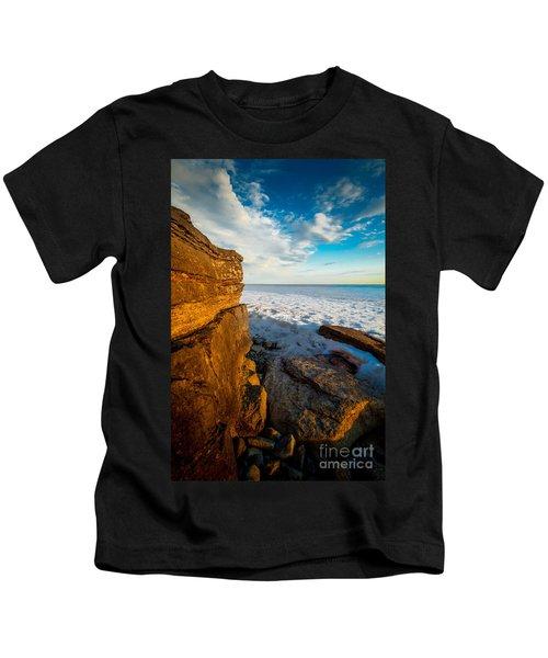 Winter Beach Sunset Kids T-Shirt