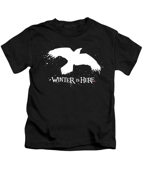 Winter Is Here - Large Raven Kids T-Shirt