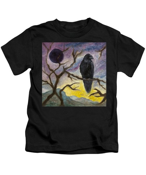 Winter Moon Raven Kids T-Shirt