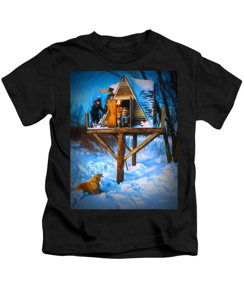 Winter Scene Three Kids And Dog Playing In A Treehouse Kids T-Shirt