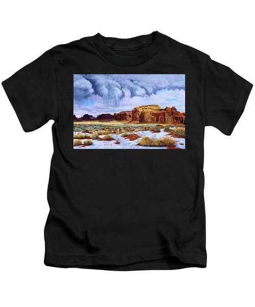 Winter Storm In Mystery Valley Kids T-Shirt