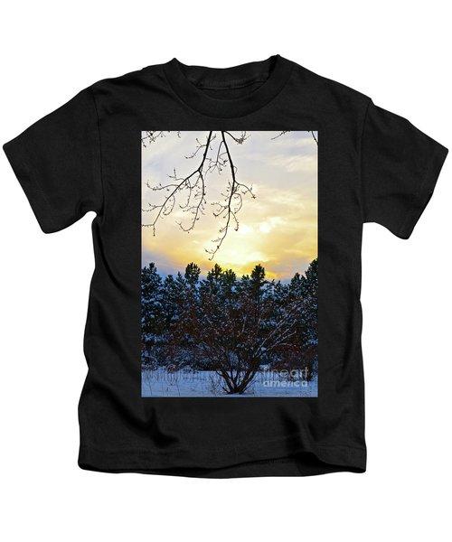 Winter Sunset On The Tree Farm #2 Kids T-Shirt