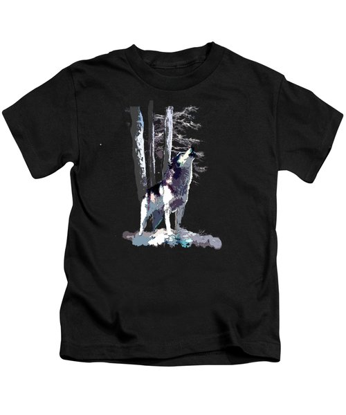 Wolf  Howling Memory Kids T-Shirt by Regina Femrite
