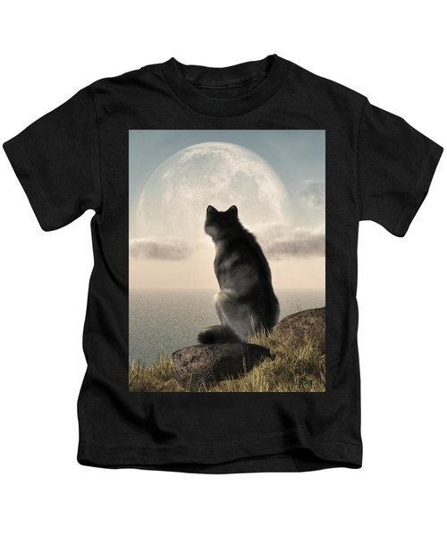 Wolf Watching The Moonrise Kids T-Shirt