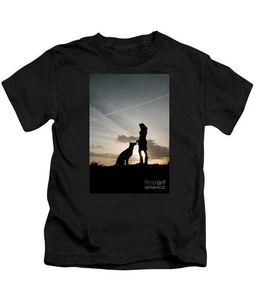 Woman And Dog  Kids T-Shirt