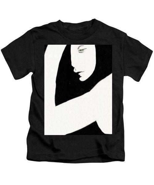 Woman In Shadows Kids T-Shirt