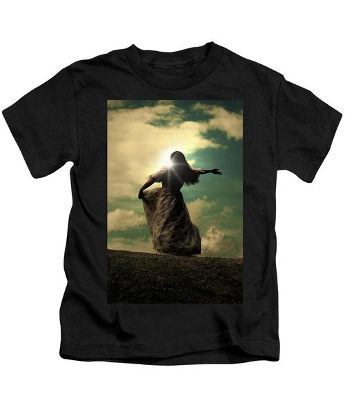 Woman On A Meadow Kids T-Shirt