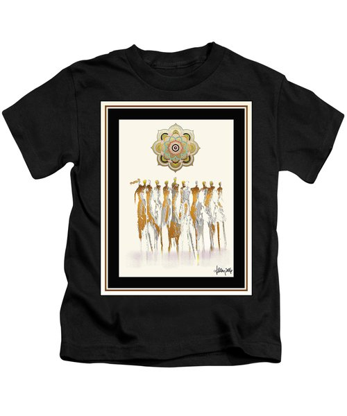 Women Chanting Mandala Kids T-Shirt