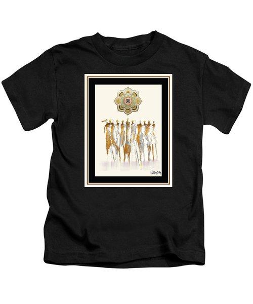 Women Chanting Mandala Kids T-Shirt