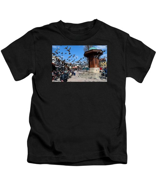 Wooden Ottoman Sebilj Water Fountain In Sarajevo Bascarsija Bosnia Kids T-Shirt