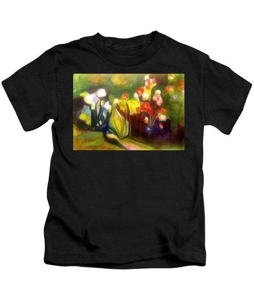 Warm Flowers In A Cool Garden Kids T-Shirt