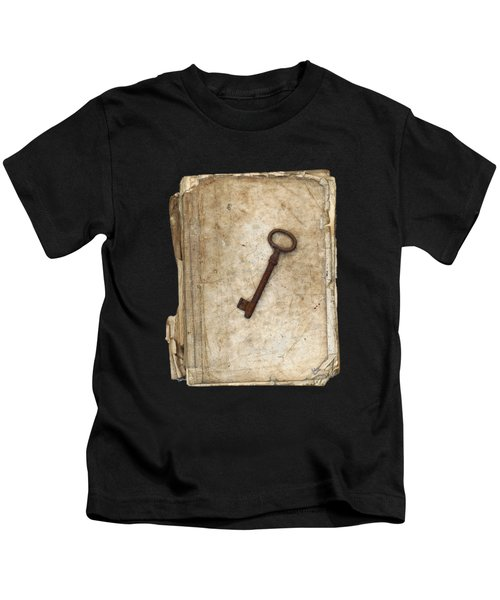 Worn And Tattered Book And Old Rusty Key Kids T-Shirt