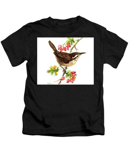 Wren And Rosehips Kids T-Shirt by Nell Hill
