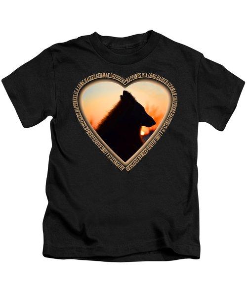 Wuffstar Happiness Is A Long Haired German Shepherd Heart Kids T-Shirt