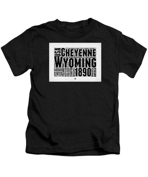 Wyoming Word Cloud Map 2 Kids T-Shirt by Naxart Studio