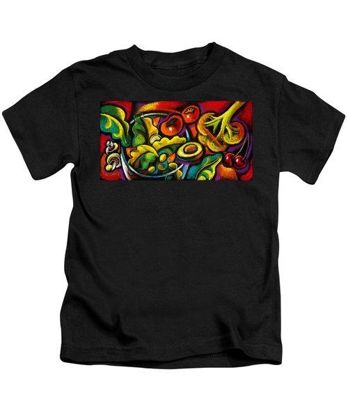 Yammy Salad Kids T-Shirt by Leon Zernitsky