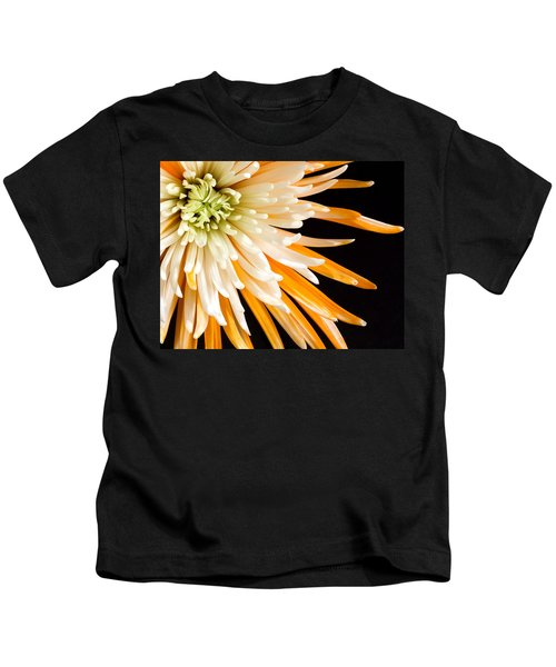 Yellow Flower On Black Kids T-Shirt