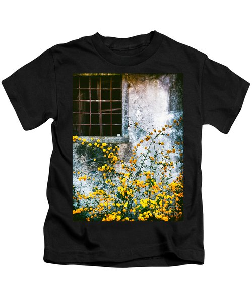 Yellow Flowers And Window Kids T-Shirt