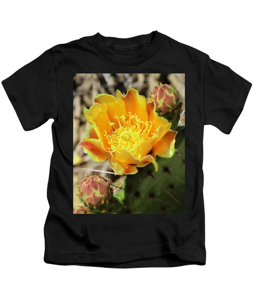 Yellow Prickly Pear Cactus Kids T-Shirt