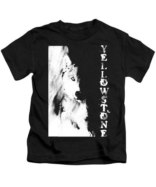 Yellowstone Wolf T-shirt Kids T-Shirt by Max Waugh