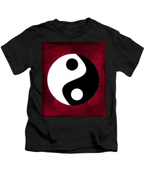 Yin And Yang - Dark Red Kids T-Shirt