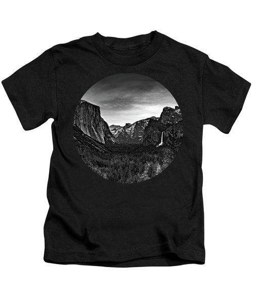 Yosemite Sunrise, Black And White Kids T-Shirt by Adam Morsa