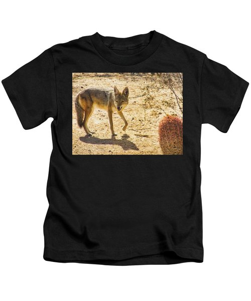 Kids T-Shirt featuring the photograph Young Coyote And Cactus by Judy Kennedy