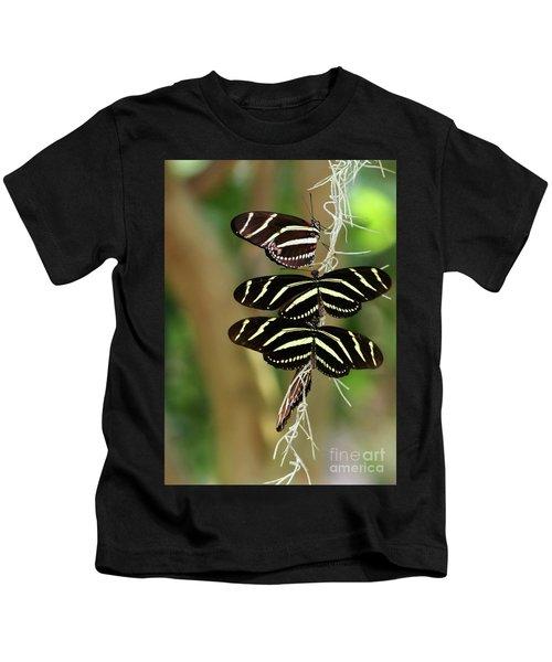 Zebra Butterflies Hanging On Kids T-Shirt