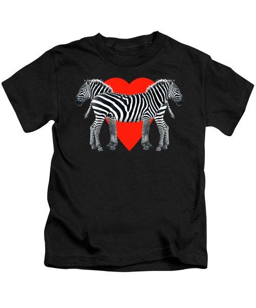 Zebra Love Kids T-Shirt by Gill Billington