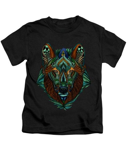 Zentangle Inspired Art- Wolf Colored Kids T-Shirt
