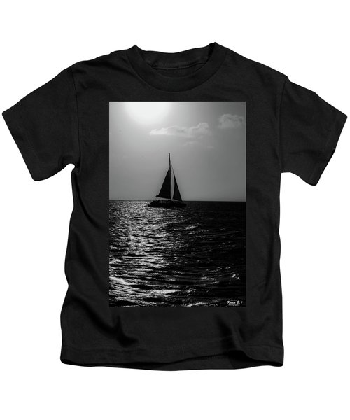 Sailing Into The Sunset Black And White Kids T-Shirt