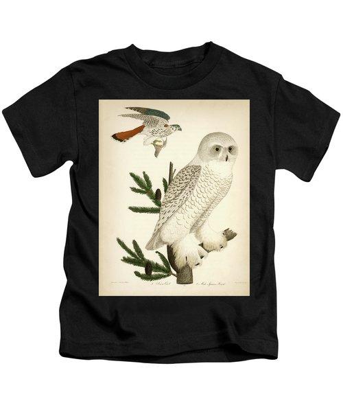 1. Snow Owl. 2. Male Sparrow-hawk. Kids T-Shirt