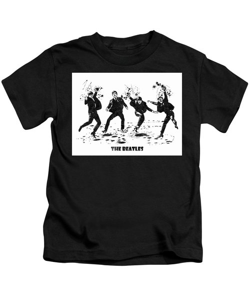 The Beatles Black And White Watercolor 01 Kids T-Shirt
