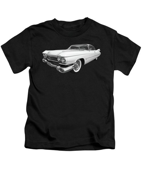 1959 Cadillac In Black And White Kids T-Shirt