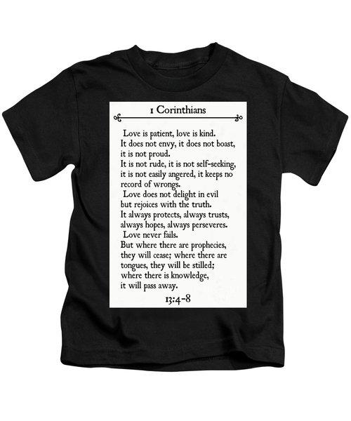 1 Corinthians 13 4-8- Inspirational Quotes Wall Art Collection Kids T-Shirt