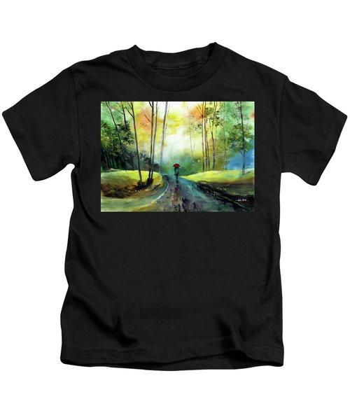 A Walk In The Rain Kids T-Shirt
