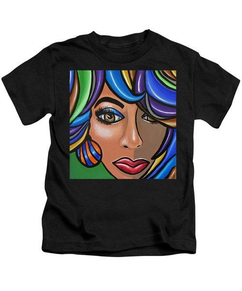 Abstract Woman Artwork Abstract Female Painting Colorful Hair Salon Art - Ai P. Nilson Kids T-Shirt