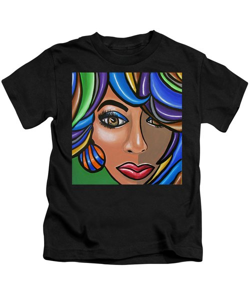 Abstract Woman Artwork Abstract Female Painting Colorful Hair Salon Art - Ai P. Nilson Kids T-Shirt