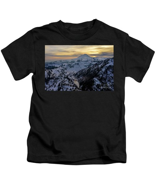 Aerial Mount Baker Dusk Snowscape Kids T-Shirt