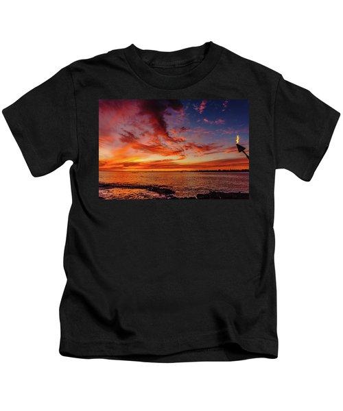 After Sunset Colors At Kailua Bay Kids T-Shirt