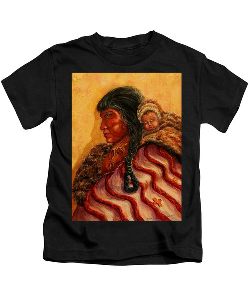 American Indian Mother And Child Kids T-Shirt