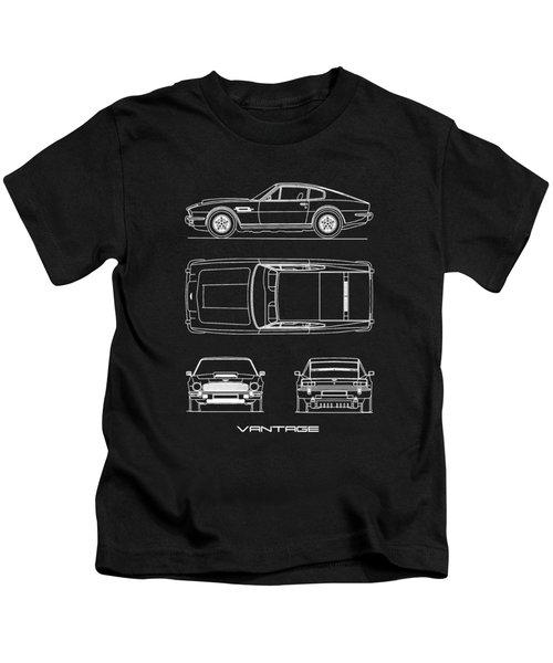 Aston Martin V8 Vantage Blueprint Kids T-Shirt