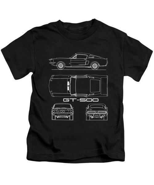 Shelby Mustang Gt500 Blueprint Kids T-Shirt