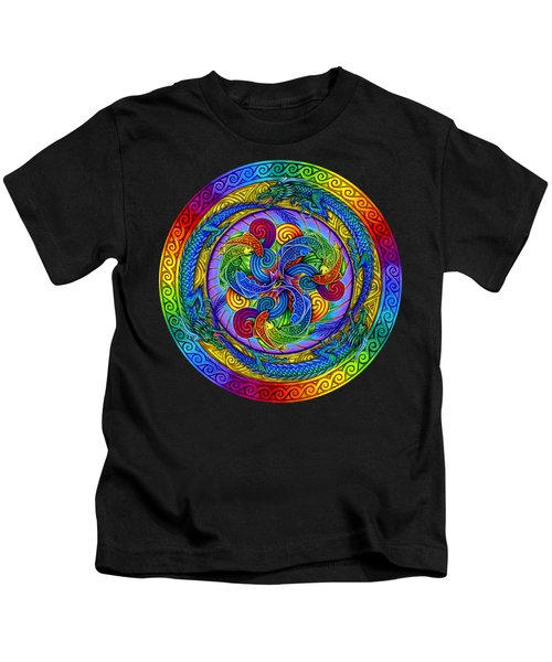 Psychedelic Dragons Rainbow Mandala Kids T-Shirt