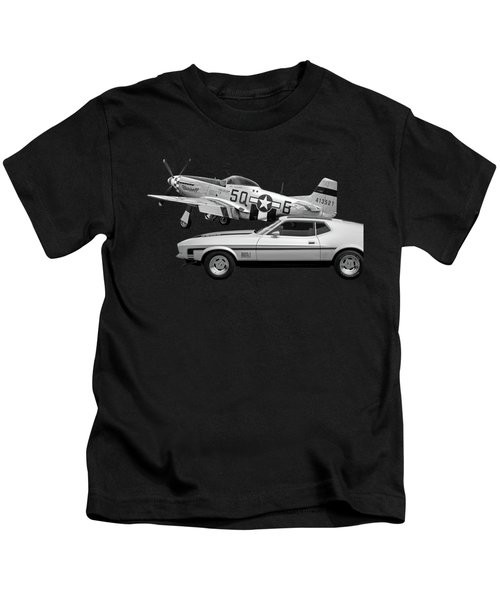 Mach 1 Mustang With P51 In Black And White Kids T-Shirt