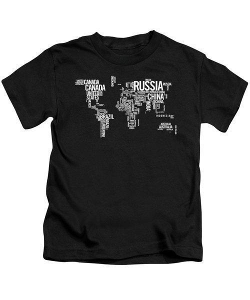 World Map Typo Kids T-Shirt