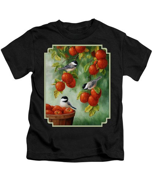 Bird Painting - Apple Harvest Chickadees Kids T-Shirt
