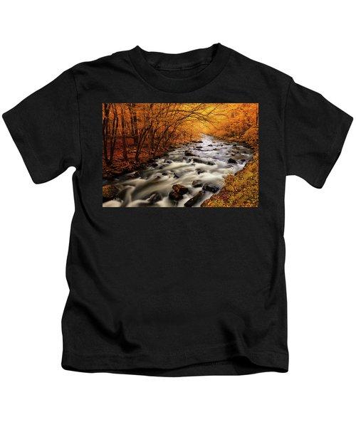 Autumn On The Little River Kids T-Shirt